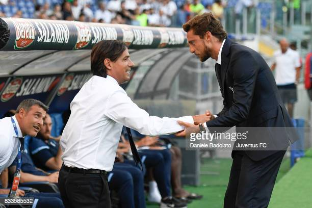 Simone Inzaghi and Claudio Marchisio during the Italian Supercup match between Juventus and SS Lazio at Stadio Olimpico on August 13 2017 in Rome...