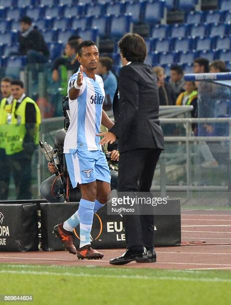 Simone Inzaghi and Nani during the Europe League football match SS Lazio vs Nizza at the Olympic Stadium in Rome on november 02 2017