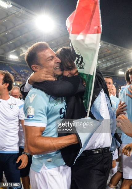 Simone Inzaghi and Stefan Radu during the Italian SuperCup TIM football match Juventus vs lazio on August 13 2017 at the Olympic stadium in Rome