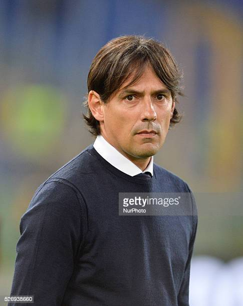 Simone Inzaghi during the Italian Serie A football match between SS Lazio and FC Inter at the Olympic Stadium in Rome on May 01 2016