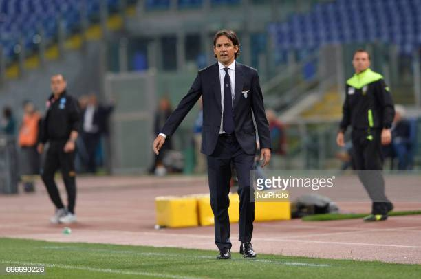 Simone Inzaghi during the Italian Serie A football match between SS Lazio and AC Napoli at the Olympic Stadium in Rome on april 09 2017