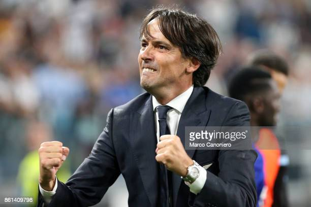 Simone Inzaghi head coach of SS Lazio celebrate at the end of the Serie A football match between Juventus FC and SS Lazio SS Lazio wins 21 over...
