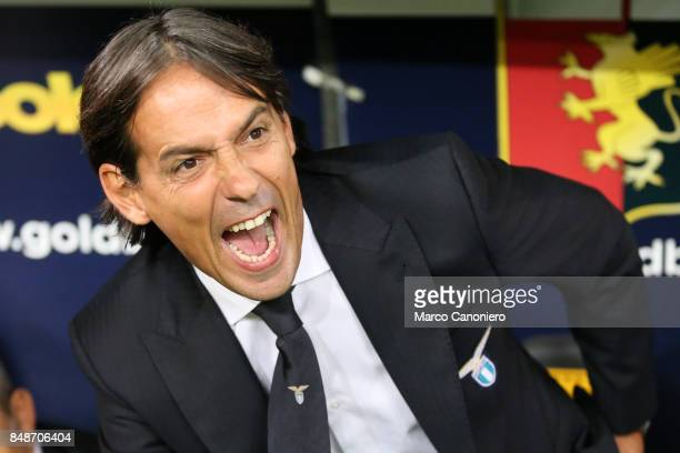 Simone Inzaghi head coach of SS Lazio gestures during the Serie A football match between Genoa CFC and SS Lazio SS Lazio wins 32 over CFC Genoa