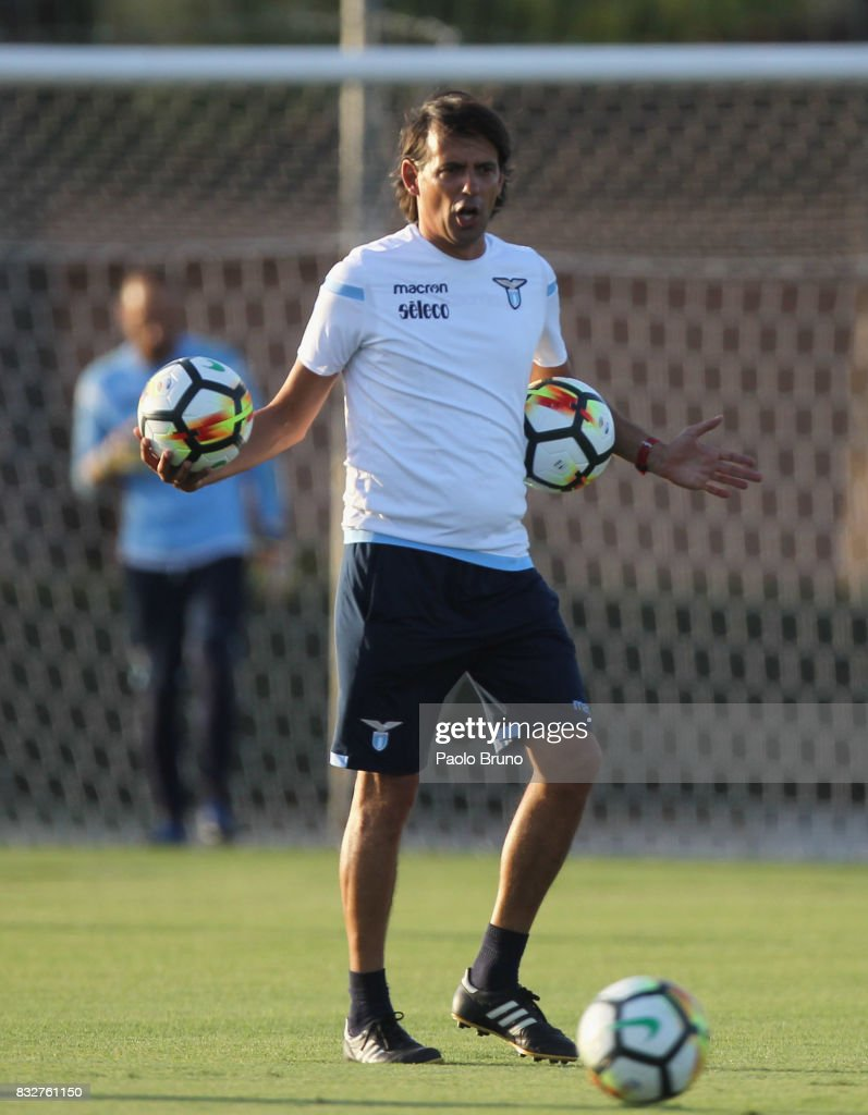 Simone Inzaghi head coach of SS Lazio gestures during the SS Lazio training session on August 16, 2017 in Rome, Italy.