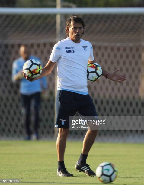 Simone Inzaghi head coach of SS Lazio gestures during the SS Lazio training session on August 16 2017 in Rome Italy
