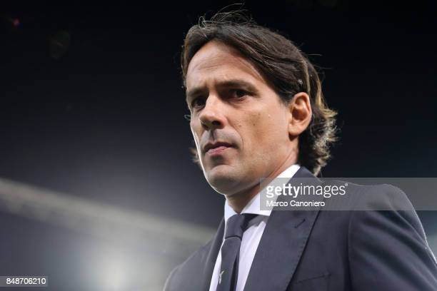 Simone Inzaghi head coach of SS Lazio looks on before the Serie A football match between Genoa CFC and SS Lazio SS Lazio wins 32 over CFC Genoa