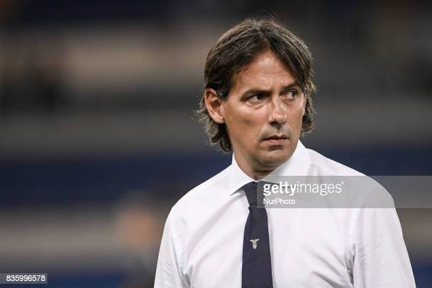 Simone Inzaghi manager of Lazio during the Serie A match between Lazio and Spal at Stadio Olimpico Rome Italy on 20 August 2017