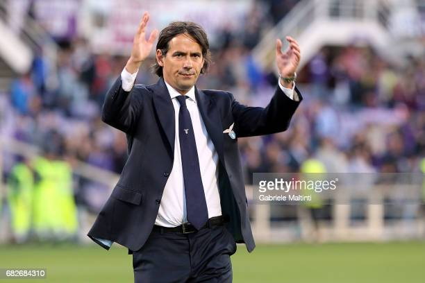 Simone Inzaghi manager of SS Lazio gestures during the Serie A match between ACF Fiorentina and SS Lazio at Stadio Artemio Franchi on May 13 2017 in...