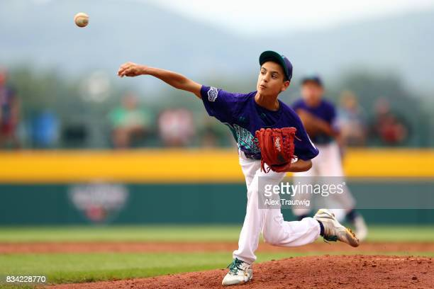 Simone Ioli of the Europe Africa team from Italy pitches during Game 3 of the 2017 Little League World Series against the Canada team from British...