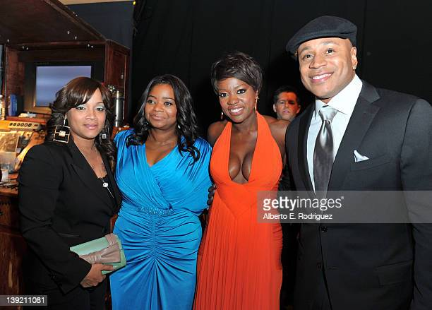 Simone Johnson and actors Octavia Spencer Viola Davis and LL Cool J attend the 43rd NAACP Image Awards held at The Shrine Auditorium on February 17...