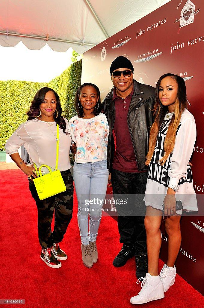 Simone Johnson daughter Nina Simone Smith rapper LL Cool J and daughter Samaria Leah Wisdom Smith arrive at the John Varvatos 11th Annual Stuart...