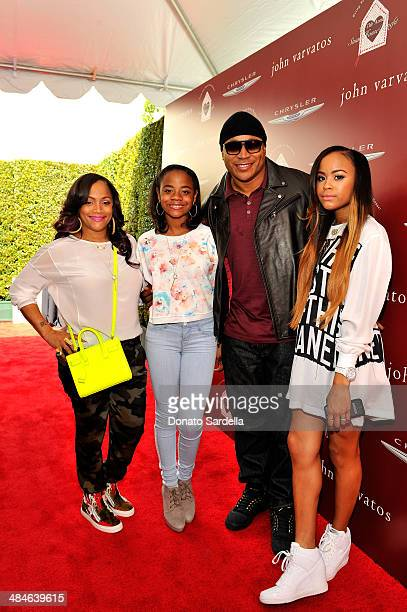 Simone Johnson daughter Nina Simone Smith rapper LL Cool J and daughter Samaria Leah Wisdom Smith arrive at the John Varvatos 11th Annual Stuart...