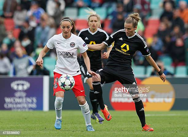 Simone Laudehr of Frankfurt battles for the ball with Kosovare Asllani of Paris during the UEFA Women's Champions League final match between 1 FFC...