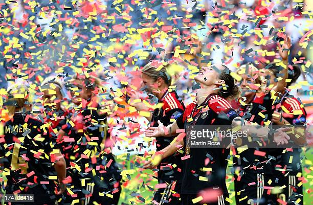 Simone Laudehr of Germany celebrates after the UEFA Women's EURO 2013 final match between Germany and Norway at Friends Arena on July 28 2013 in...