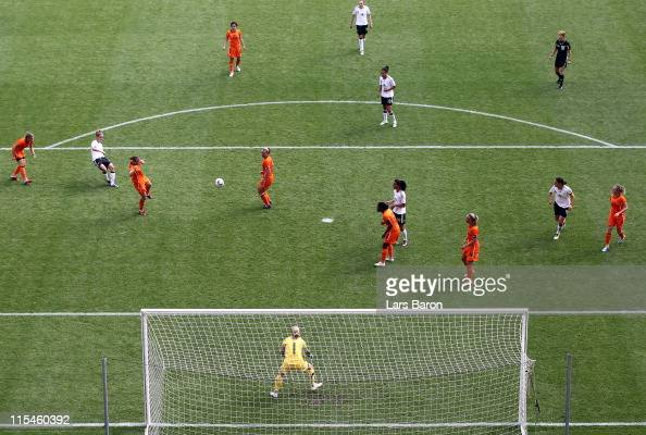 Simone Laudehr of Germany scores his teams second goal during the Women's International friendly match between Germany and Netherlands on June 7 2011...