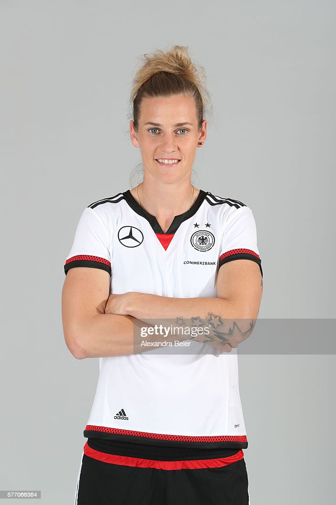 Simone Laudehr of the German women's national football team poses during the team presentation on June 21, 2016 in Grassau, Germany.