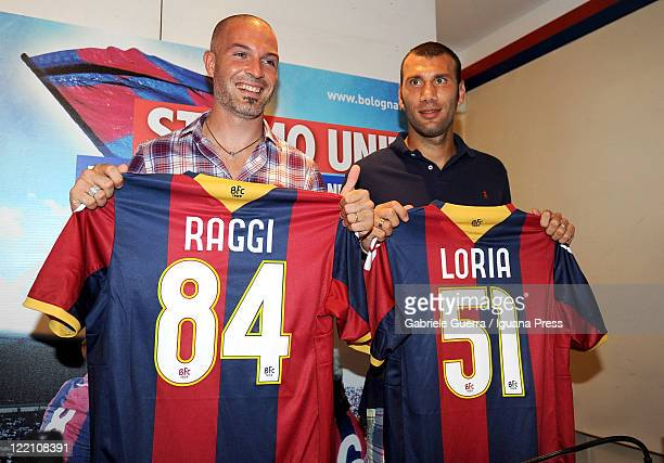 Simone Loria and Andrea Raggi are unveiled as new Bologna players during a press conference at Nicolo Galli Center's press room on August 25 2011 in...