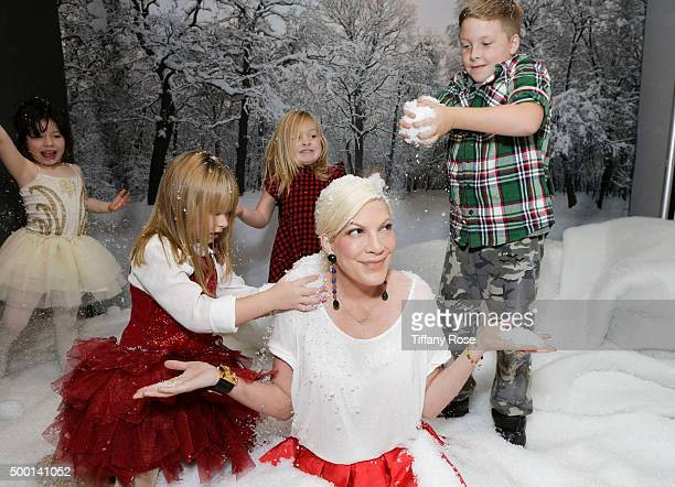 Simone Lynn Stella McDermot Hattie McDermot Actress Tori Spelling and Liam McDermottattends 2015 Santa's Secret Workshop Benefiting LA Family Housing...