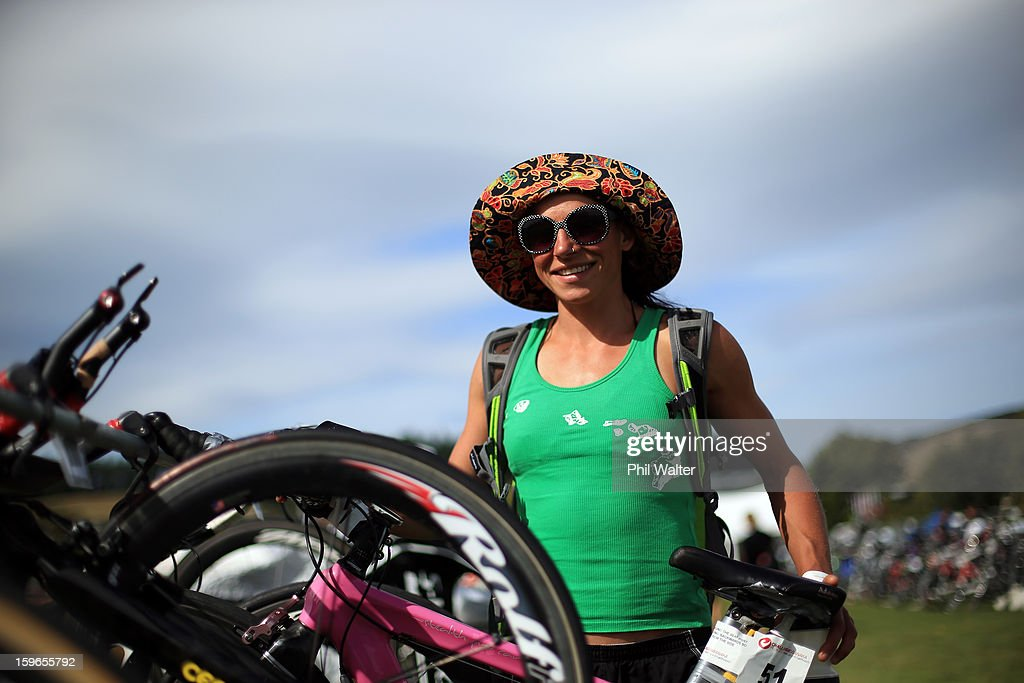 Simone Maier of New Zealand stacks her bike prior to the Challenge Wanaka on January 18, 2013 in Wanaka, New Zealand.