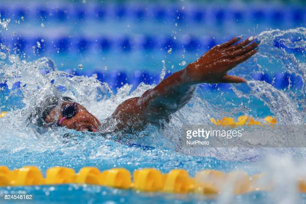 US Simone Manuel competing in the final of the women's 50m freestyle during the swimming competition at the 2017 FINA World Championships in Budapest...