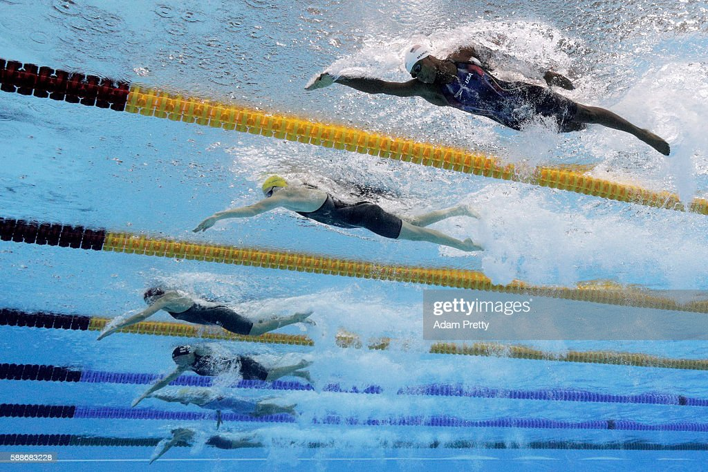 Simone Manuel of the United States Cate Campbell of Australia and Francesca Halsall of Great Britain compete in the Women's 50m Freestyle heat on Day...