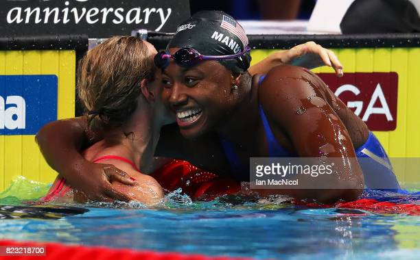 Simone Manuel of United States celebrates as her team wins the Mixed 4 x 100m Medely Relay during day thirteen of the FINA World Championships at the...