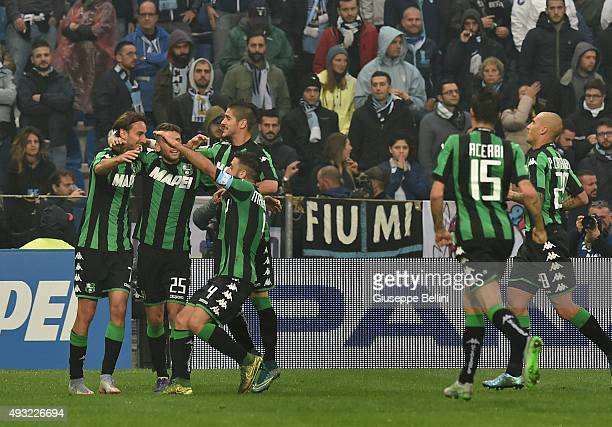 Simone Missiroli of Sassuolo celebrates after scoring the goal 20 during the Serie A match between US Sassuolo Calcio and SS Lazio at Mapei Stadium...