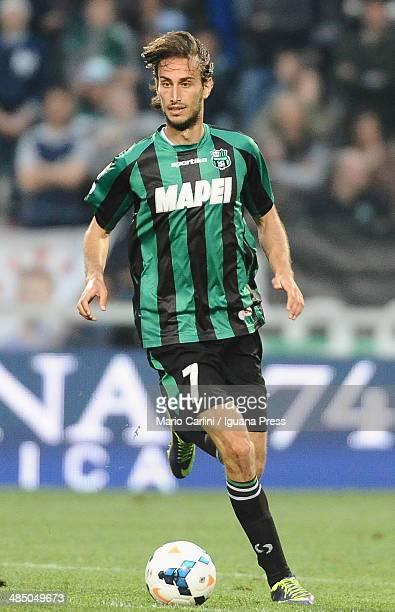 Simone Missiroli of US Sassuolo Calcio in action during the Serie A match US Sassuolo Calcio and Cagliari Calcio on April 12 2014 in Sassuolo Italy