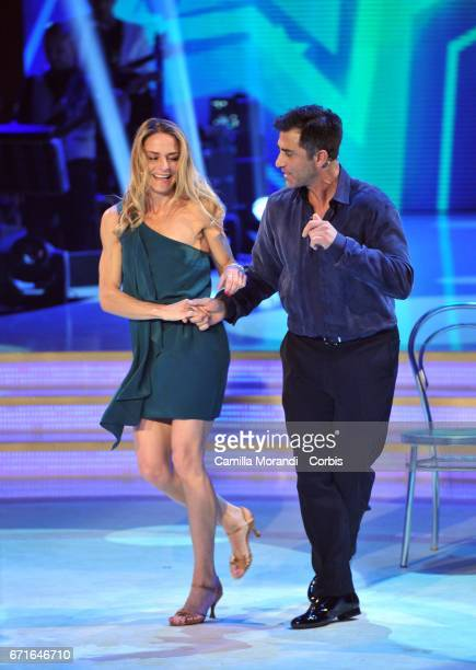 Simone Montedoro and and Lara Montedoro attend Ballando Con Le Stelle Tv Show on April 22 2017 in Rome Italy