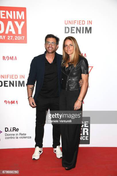 Simone Montedoro and Lara Carnevale attend the Guess Foundation Denim Day 2017 at Palazzo Barberini on May 4 2017 in Rome Italy