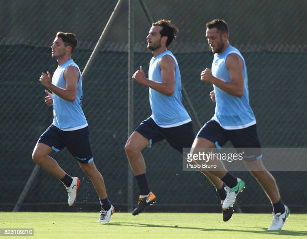 Simone Palombi Marco Parolo and Stefan De Vrij of SS Lazio in action during the SS Lazio preseason training session on July 26 2017 in Rome Italy