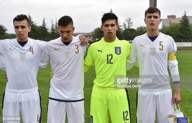 Simone Panada Christian Dimarco Samuel Vitale and Lorenzo Pirola of Italy U15 prior the Torneo delle Nazioni match between Italy U15 and UAE U15 on...