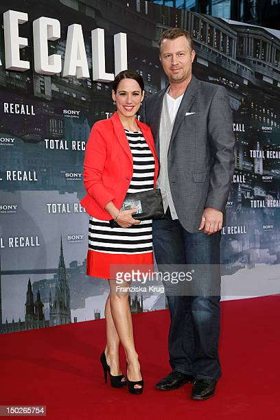 Simone Panteleit and guest attend the German premiere of 'Total Recall' at Sony Center on August 13 2012 in Berlin Germany