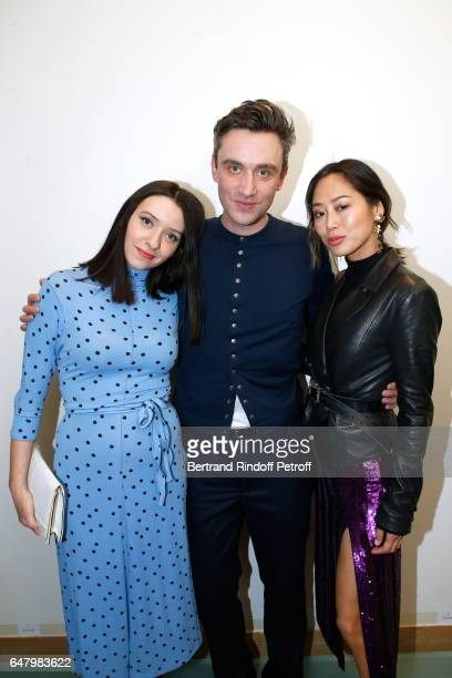 Simone Ringer Stylist Guillaume Henry and Aimee Song pose backstage after the Nina Ricci show as part of the Paris Fashion Week Womenswear...