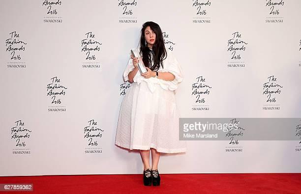 Simone Rocha winner of the British Womenswear Designer award at The Fashion Awards 2016 at Royal Albert Hall on December 5 2016 in London England