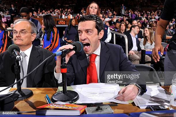 Simone Sandri announcer from Gazzetta Dello Sport announces the teams for Italian Heritage night before the New York Knicks against the Toronto...