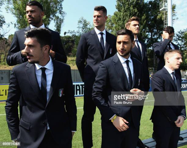 Simone Scuffet and Gianluigi Donnarumma of Italy U21 look on during the official team photo at Centro Sportivo Fulvio Bernardini on June 14 2017 in...