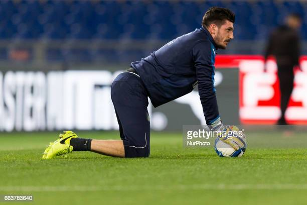 Simone Scuffet during the warmup beforeduring the International Friendly Under 21 Italia v Spagna at Olimpico Stadium on March 27 2017 in Rome Italy