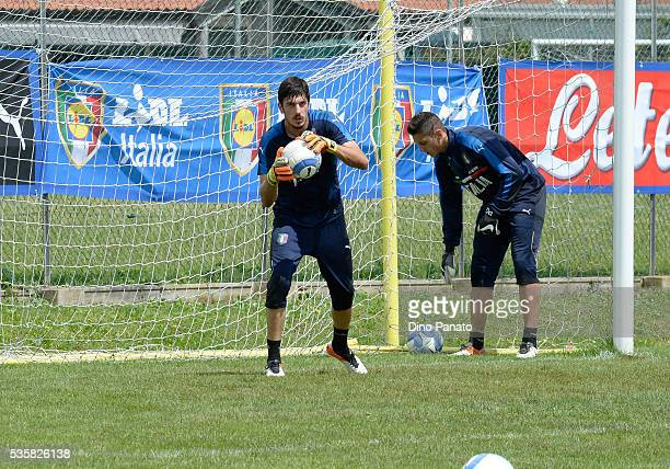 Simone Scuffet goalkeeper of Italy U21 in action during Training Session at stadio Comunale on May 30 2016 in Mestre Italy