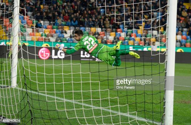 Simone Scuffet goalkeeper of Udinese Calcio in action during the Serie A match between Udinese Calcio and US Citta di Palermo at Stadio Friuli on...