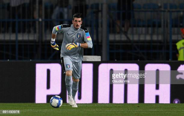 Simone Scuffet of Italy in action during the international friendy match played between Italy and San Marino at Stadio Carlo Castellani on May 31...