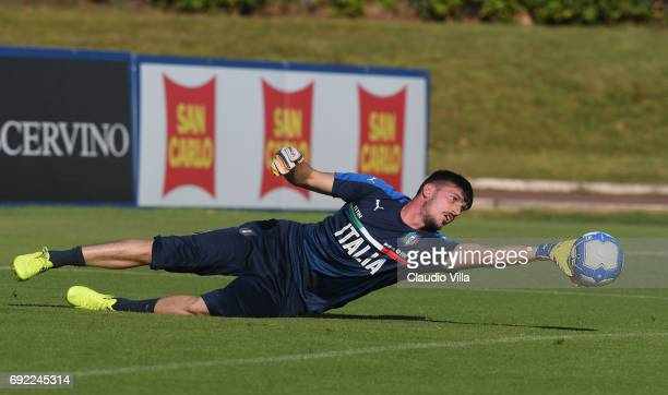 Simone Scuffet of Italy in action during the training session at Coverciano at Coverciano on June 04 2017 in Florence Italy