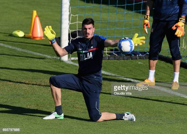 Simone Scuffet of Italy in action during the training session at Coverciano on June 08 2017 in Florence Italy