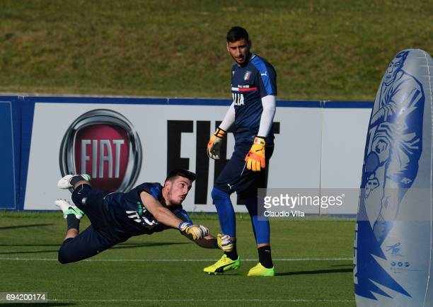 Simone Scuffet of Italy in action during the training session at Coverciano on June 09 2017 in Florence Italy