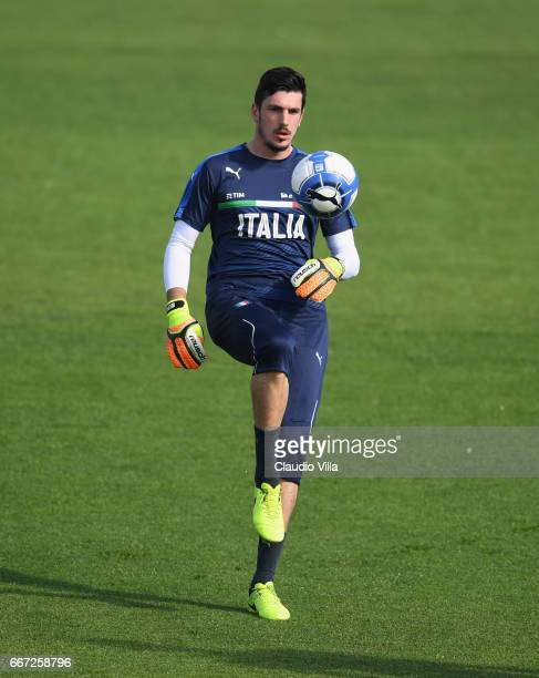 Simone Scuffet of Italy in action during the training session at the club's training ground at Coverciano on April 11 2017 in Florence Italy