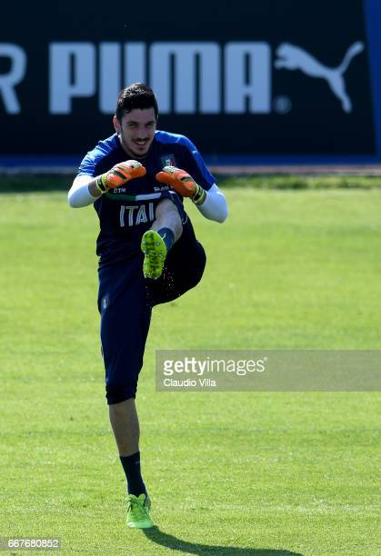 Simone Scuffet of Italy in action during the training session at the club's training ground at Coverciano on April 12 2017 in Florence Italy