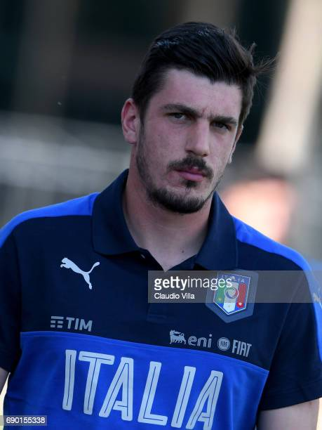 Simone Scuffet of Italy looks on during the training session at Coverciano at Coverciano on May 30 2017 in Florence Italy