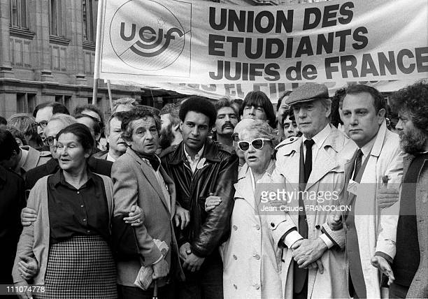 Simone Signoret Yves Montand Harlem Desir Simone Veil at the Rally against an attack antiSemitic happened in the Jewish Film Festival in Paris France...