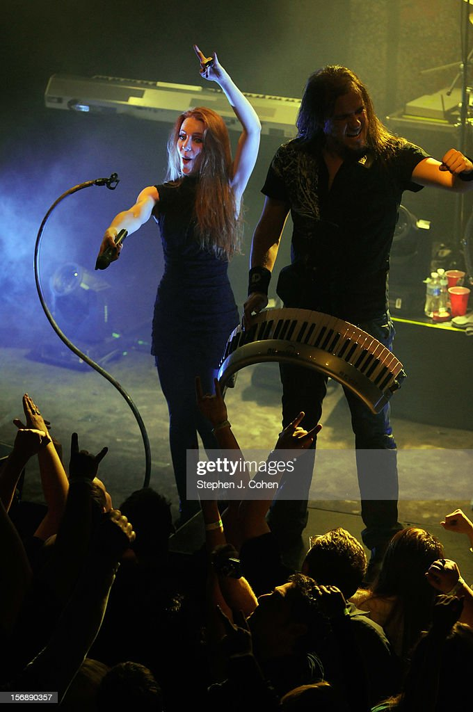 Simone Simons and Coen Janssen of Epica performs in concert at Headliners Music Hall on November 23, 2012 in Louisville, Kentucky.