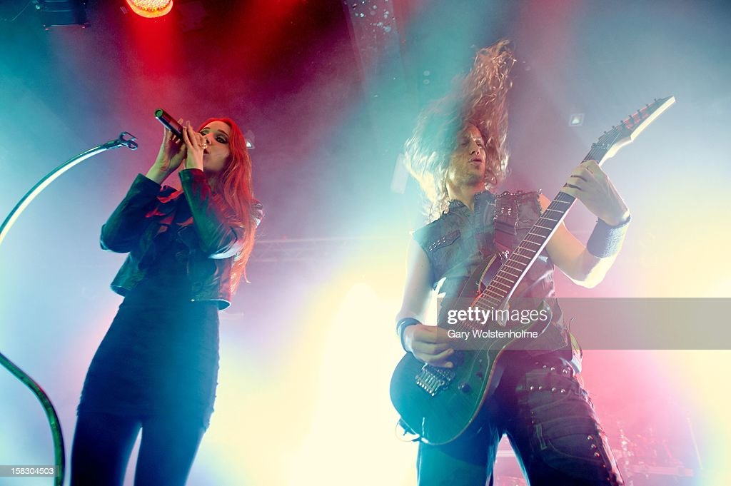Simone Simons and Mark Jansen of Epica performs at the Corporation on December 12, 2012 in Sheffield, England.